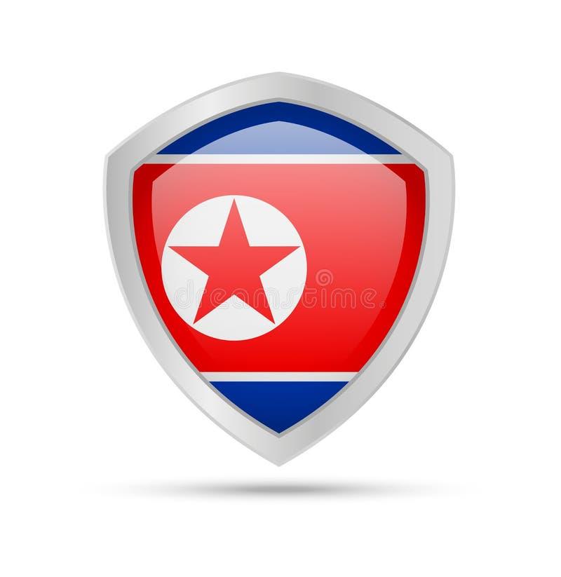 有北朝鲜旗子的盾在白色背景 皇族释放例证
