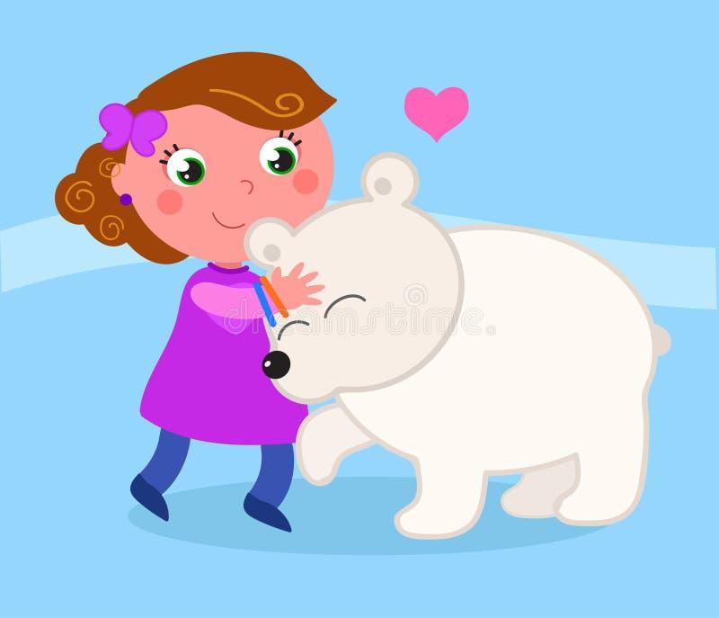 有北极熊的逗人喜爱的女孩 向量例证