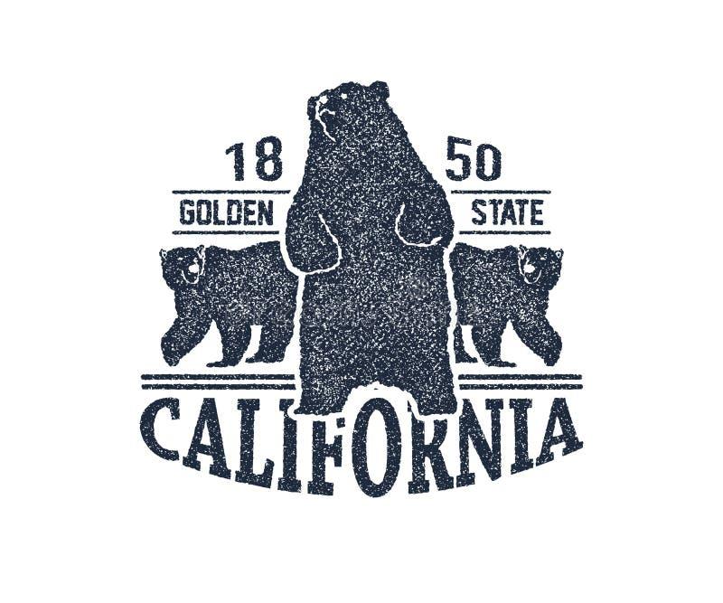 有北美灰熊的加利福尼亚T恤杉 库存例证