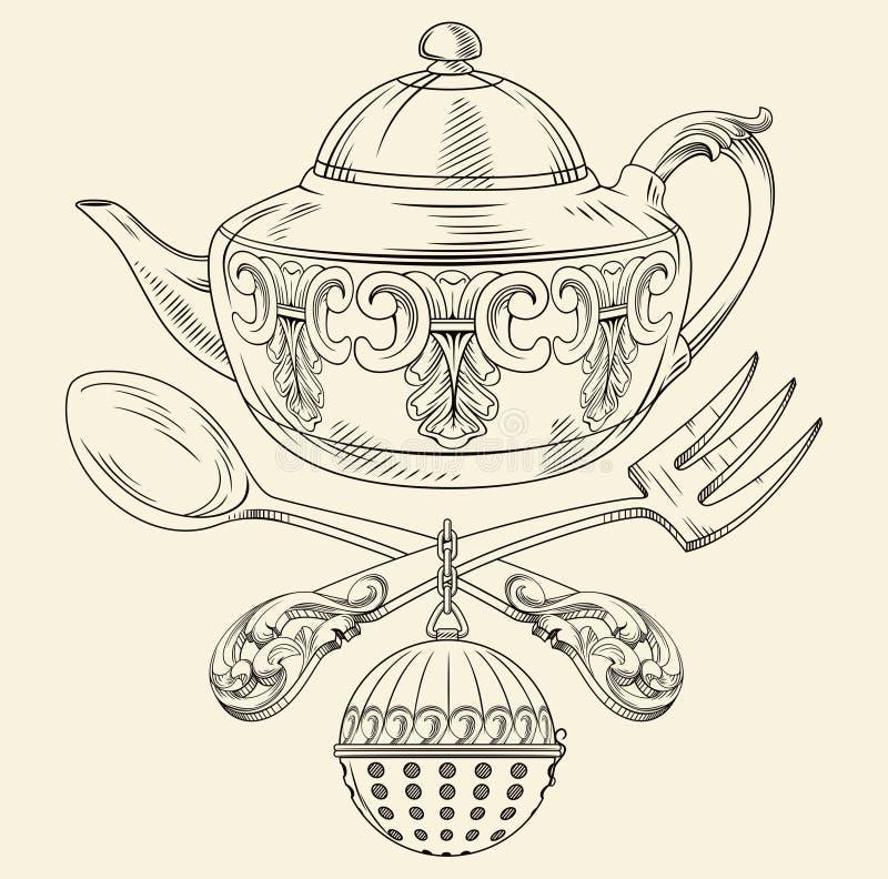 有匙子和叉子的茶罐 向量例证