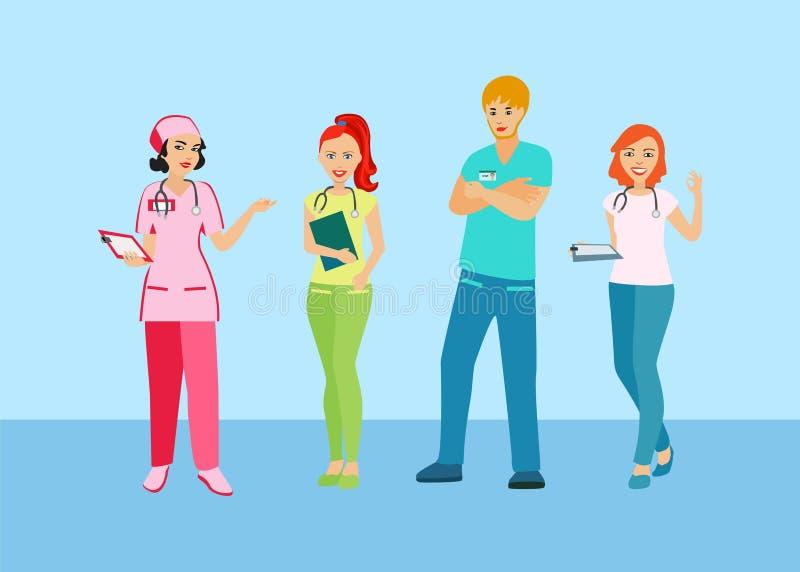 有医疗业的人们 医生和护士制服的 医疗人员 库存例证