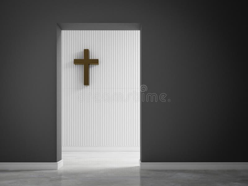 有十字架的空的室在墙壁3d翻译 皇族释放例证