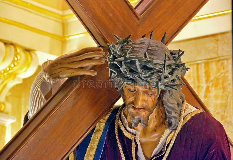 有十字架的耶稣 在十字架上钉死 免版税图库摄影