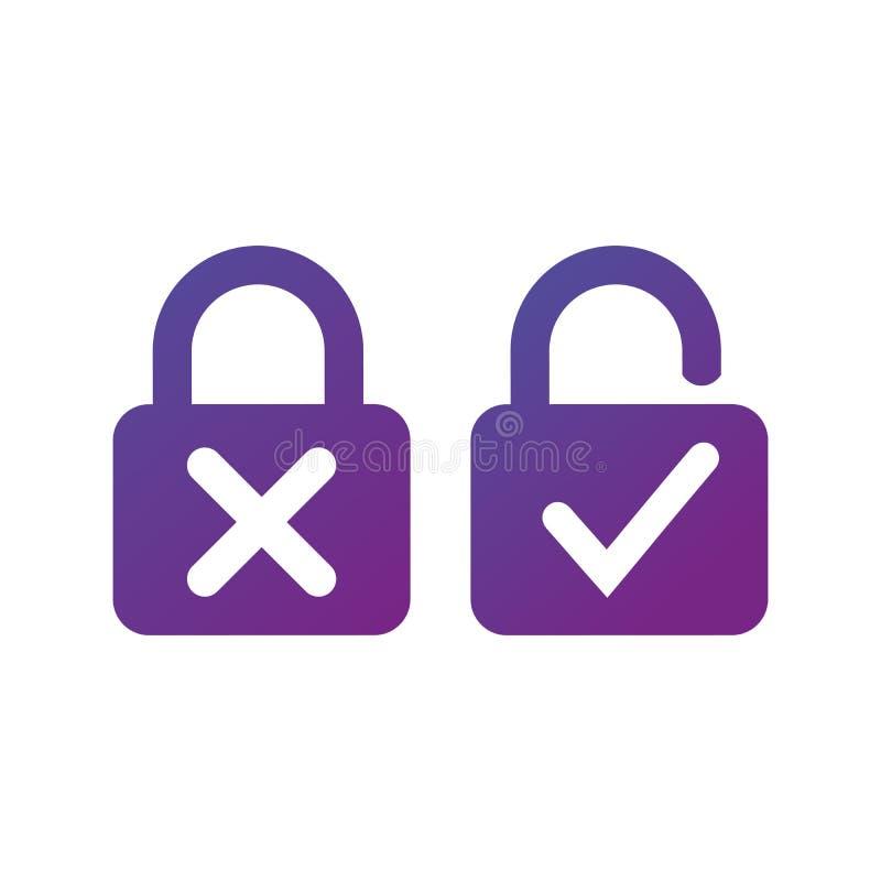 有十字架的锁和锁的校验标志打开在白色背景隔绝的象 安检锁标志 也corel凹道例证向量 库存例证