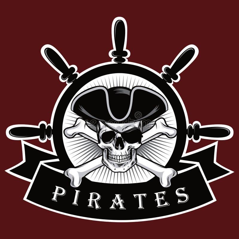 有十字架骨头帽子和眼罩红色背景商标设计传染媒介例证的海盗头骨 向量例证