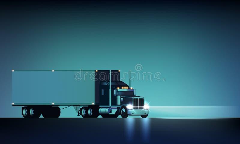 有半乘坐在夜背景传染媒介例证的车灯和干燥搬运车的半夜大经典大船具卡车 皇族释放例证