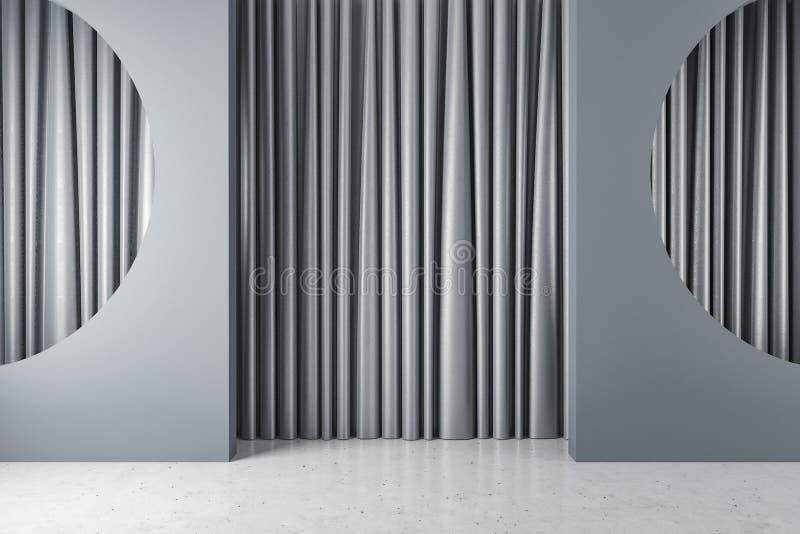 有半圈适当位置和帷幕的灰色室 向量例证