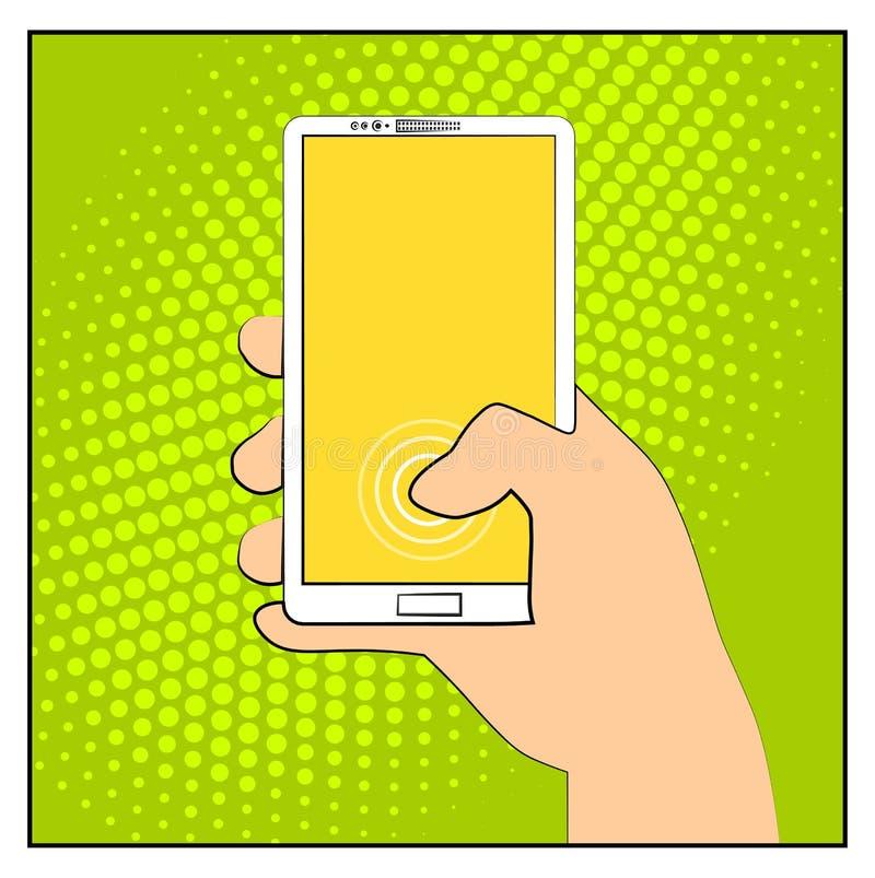 有半音阴影的可笑的智能手机电话 背景银行现有量藏品注意smartphone 流行艺术减速火箭的样式 平的设计 传染媒介例证eps 1 库存例证