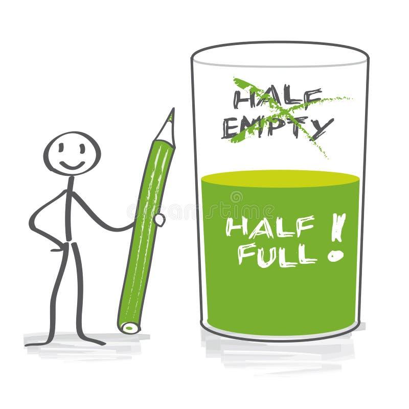 有半满的玻璃的乐观主义者 向量例证