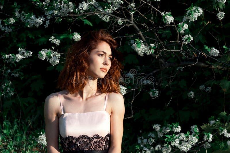 有华美的深红头发的女孩在绿色背景开花自然 在绽放的苹果树 樱桃接近的花园红色春天郁金香上升白色 f的概念 免版税库存照片