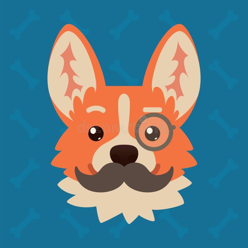 有单片眼镜和髭的小狗狗情感头 逗人喜爱的狗的传染媒介例证在平的样式的显示聪明 向量例证