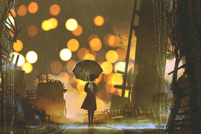 有单独站立在被放弃的城市的伞的妇女 库存例证