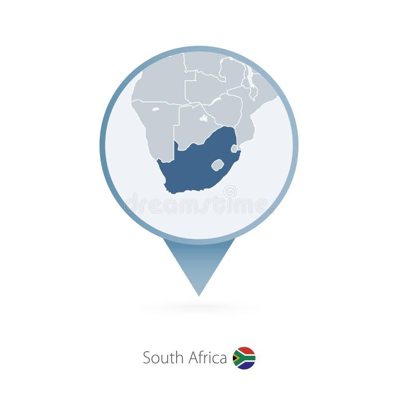 有南非和邻国详细的地图的地图别针  库存例证