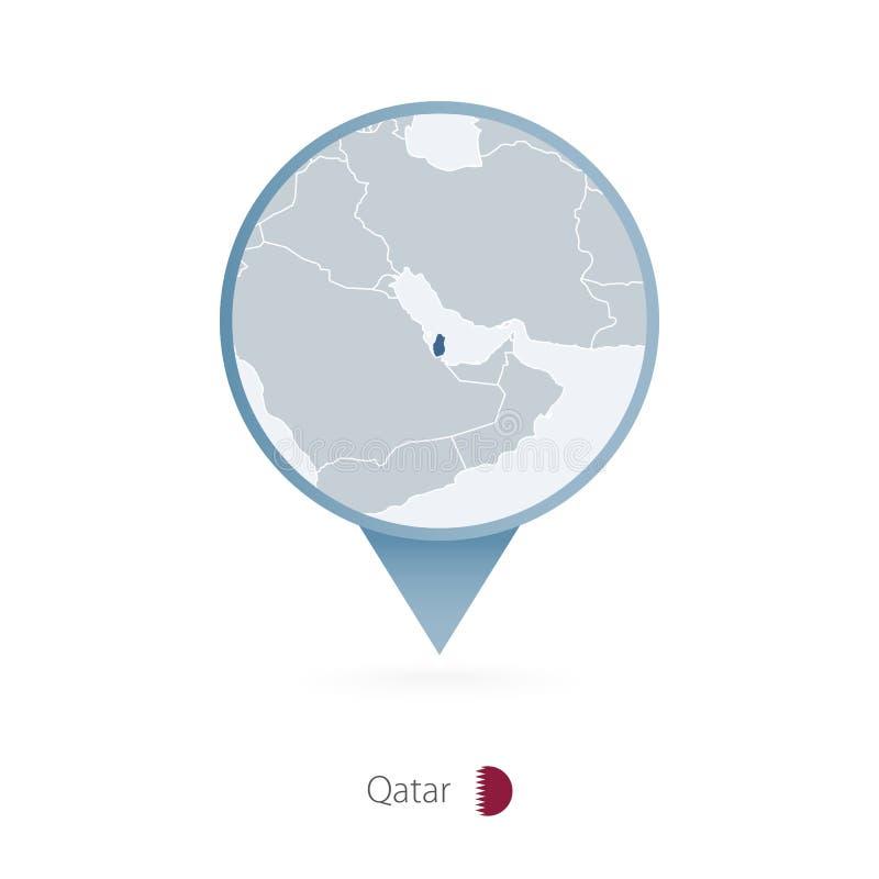 有卡塔尔和邻国详细的地图的地图别针  库存例证