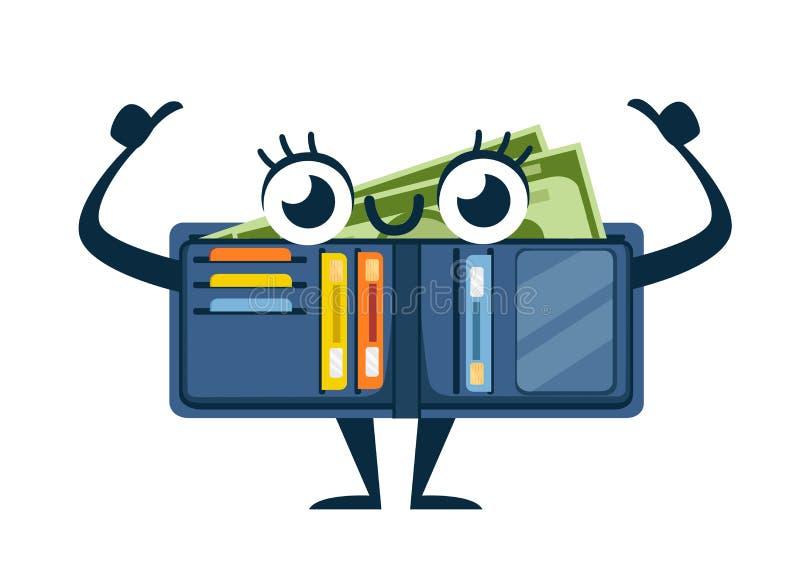 有卡片和现金的,吉祥人蓝色皮革钱包 被打开的钱包 信用卡和纸币的口袋 r 皇族释放例证