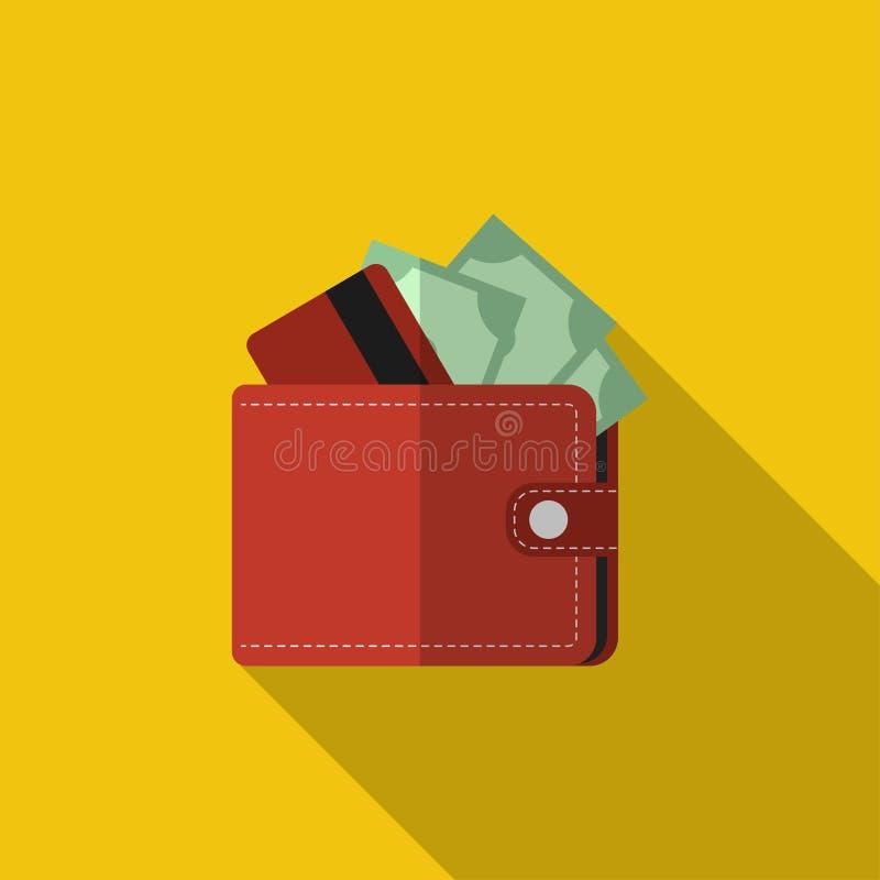 有卡片的平的与长的阴影的钱包和现金 库存例证