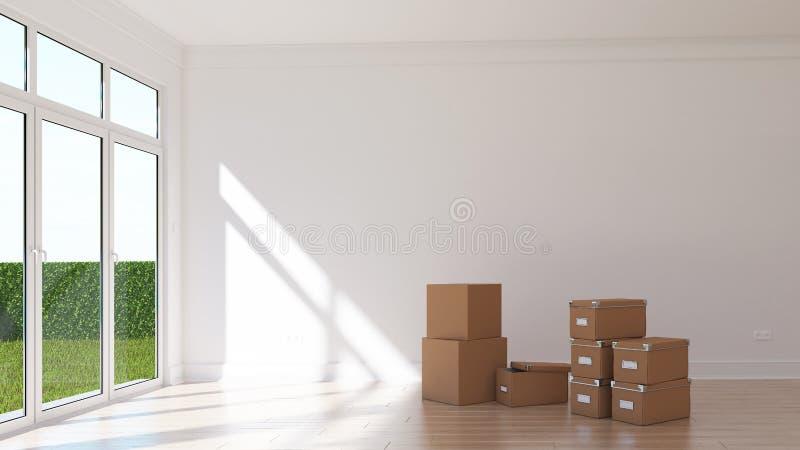 有卡片盒的空的晴朗的室 免版税库存图片