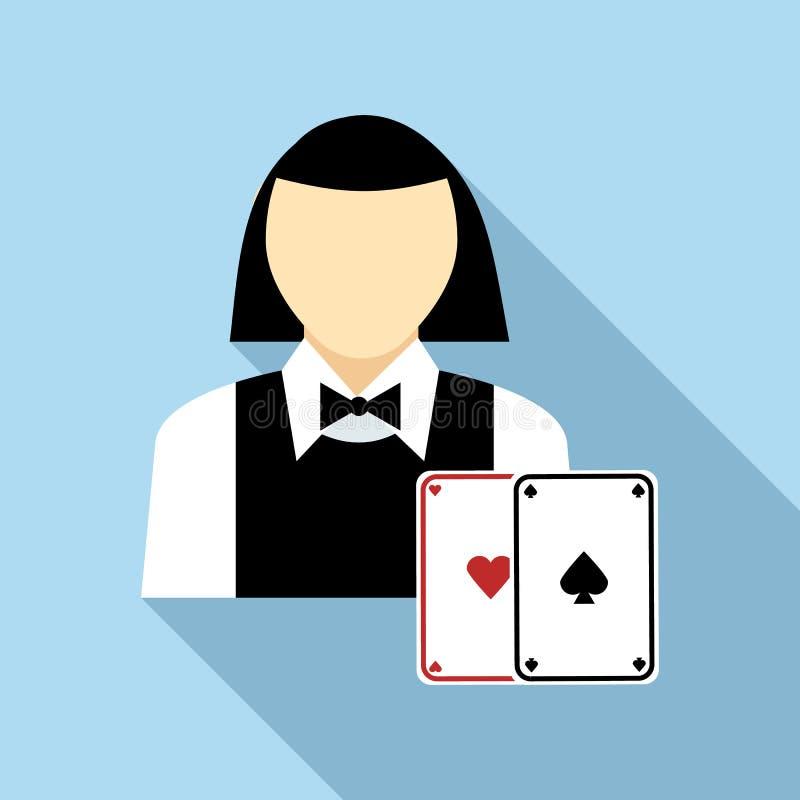 有卡片象的,平的样式俏丽的副主持人妇女 库存例证