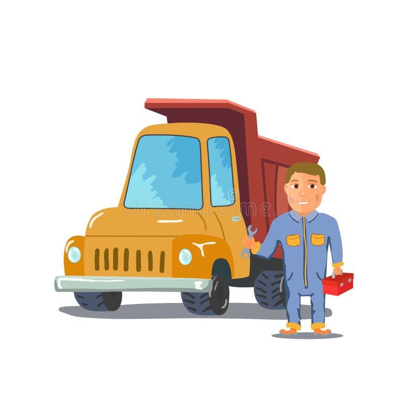 有卡车的动画片技工在白色背景 向量 皇族释放例证