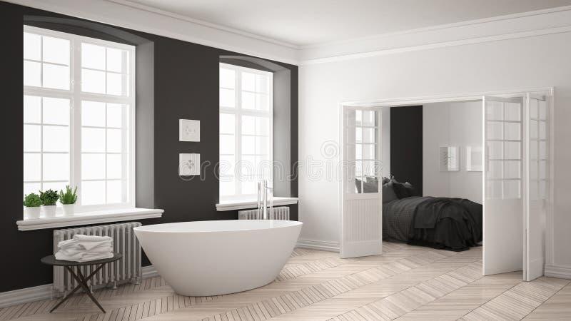 有卧室的最低纲领派斯堪的纳维亚白色和灰色卫生间 免版税库存照片