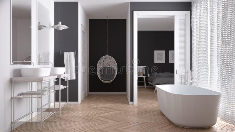 有卧室的最低纲领派白色和灰色斯堪的纳维亚卫生间 免版税图库摄影