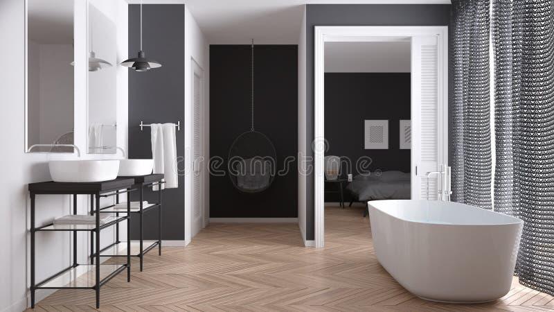 有卧室的最低纲领派白色和灰色斯堪的纳维亚卫生间 免版税库存照片