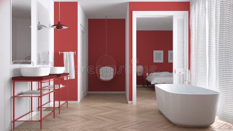 有卧室的最低纲领派白色和红色斯堪的纳维亚卫生间 免版税库存图片