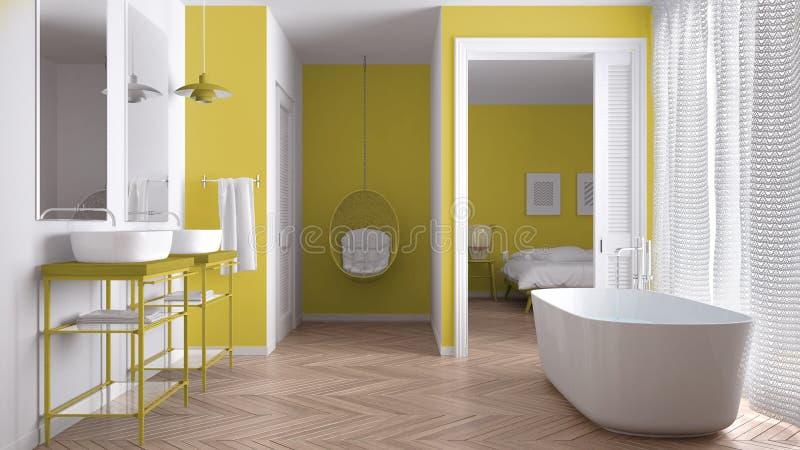 有卧室的最低纲领派白色和黄色斯堪的纳维亚卫生间 库存照片
