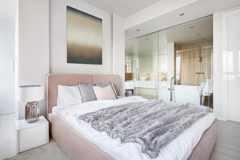 有卫生间的美丽的主卧室 免版税库存照片