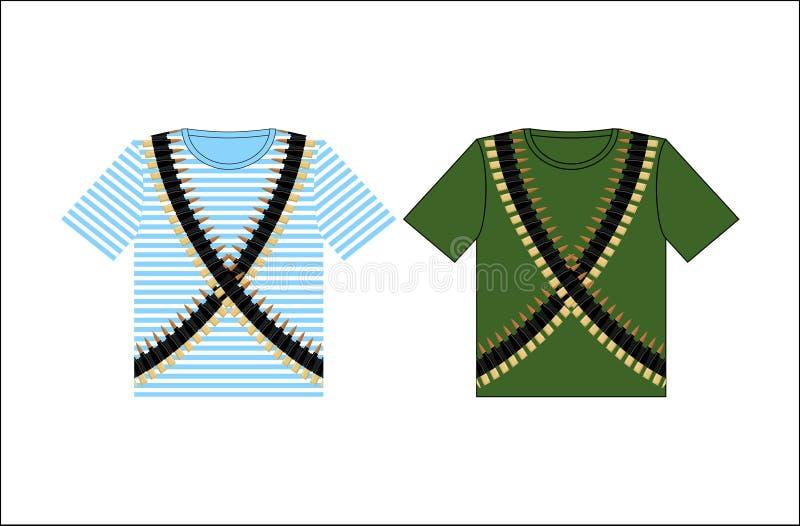 有印刷品子弹带的T恤杉 节日的衣物2月 皇族释放例证