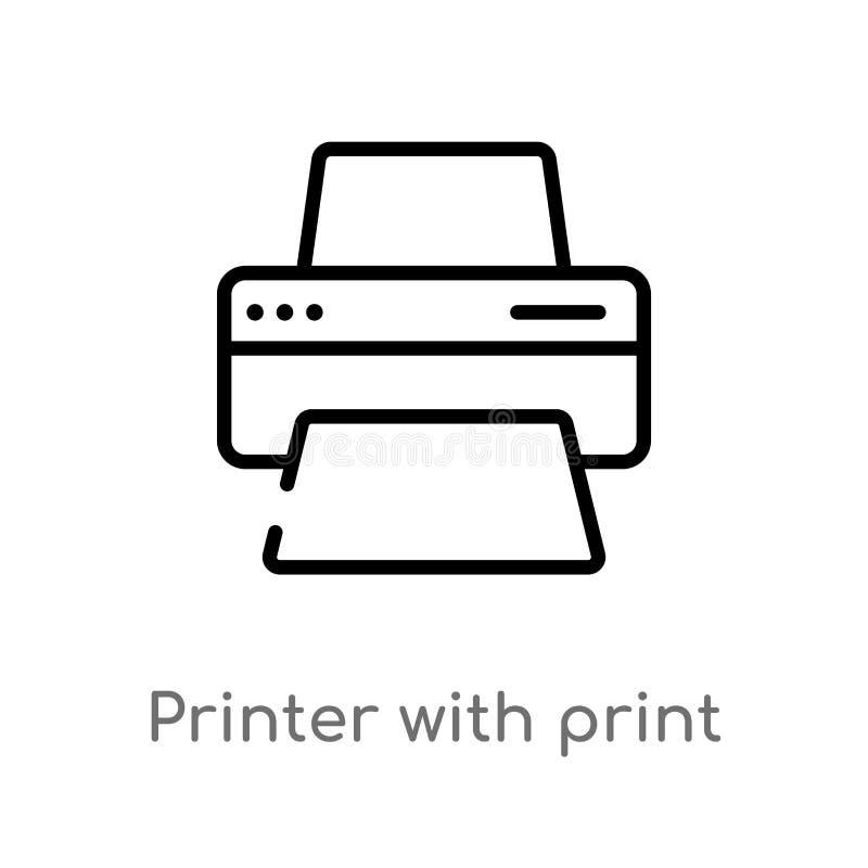 有印刷品的概述打印机和纸板料导航象 被隔绝的黑简单的从工具和器物的线元例证 库存例证