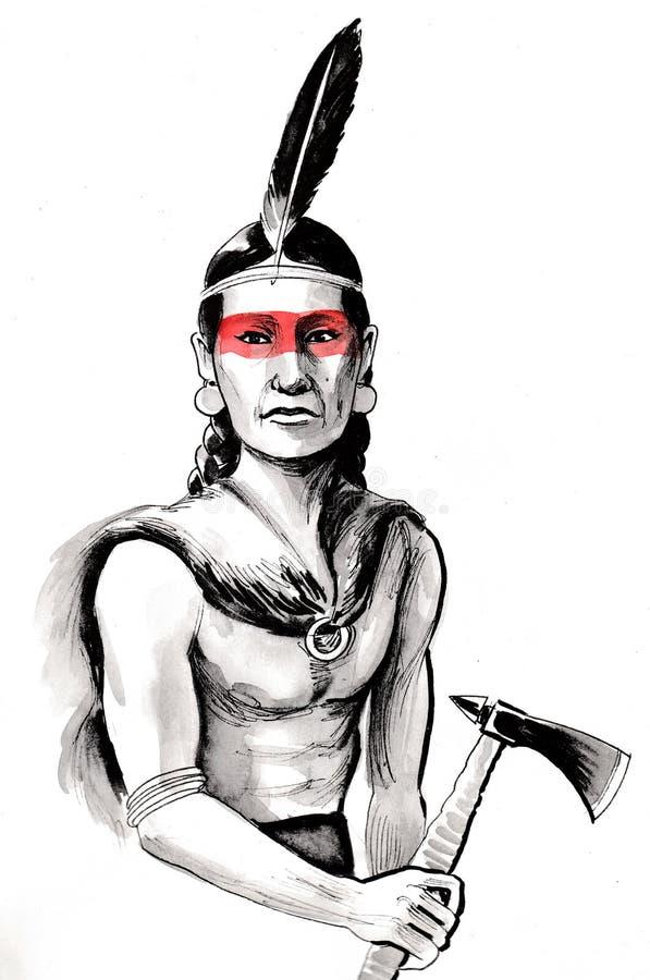 有印第安战斧的印地安战士 库存例证