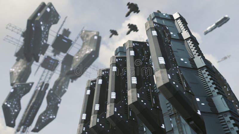 有印象深刻的空间站的未来派科学幻想小说城市 3d翻译 库存例证
