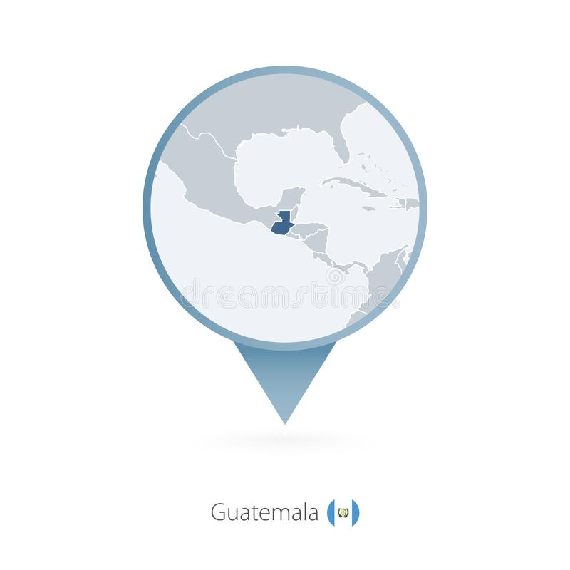 有危地马拉和邻国详细的地图的地图别针  向量例证