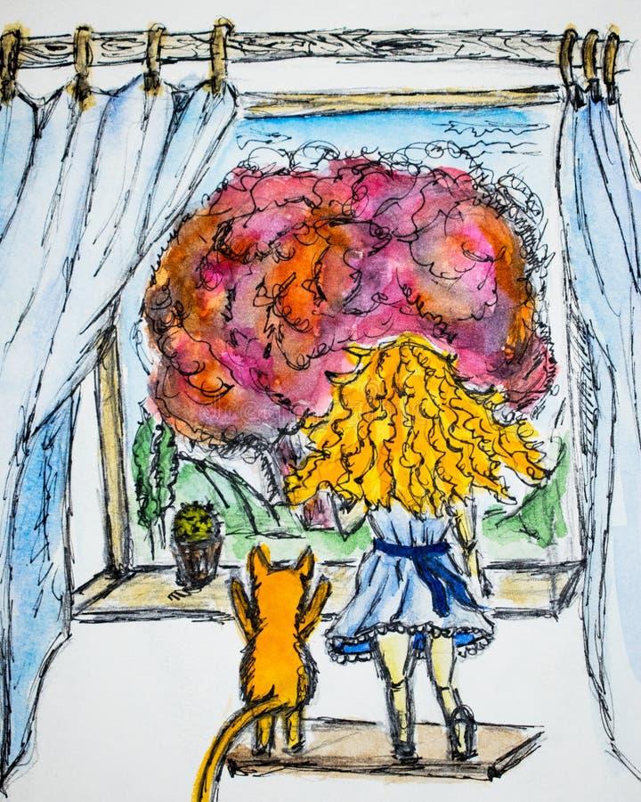 有卷发的红发女孩在一只红色猫旁边,他们看窗口水彩图画,例证 库存例证