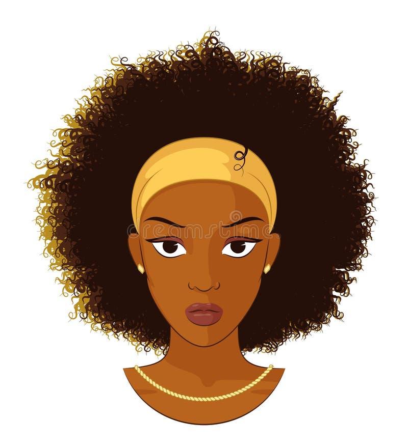 有卷发的蓬松卷发女孩 向量例证