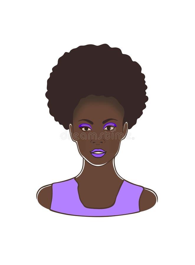 有卷曲吹马尾和紫罗兰嘴唇和礼服传染媒介例证的时尚黑非裔美国人的夫人头 皇族释放例证
