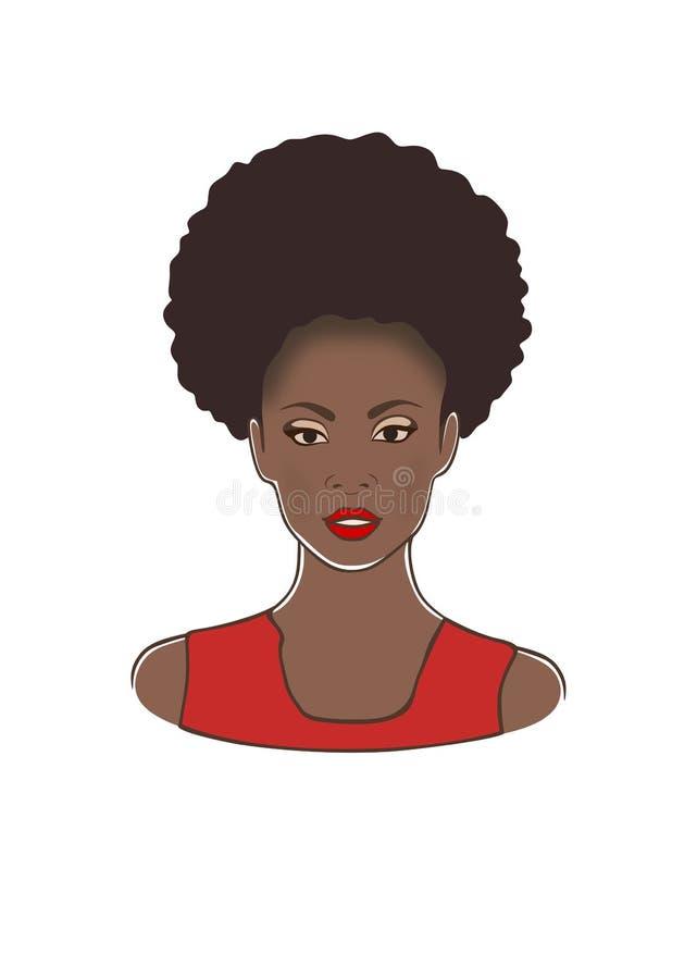 有卷曲吹马尾和红色嘴唇和礼服传染媒介例证的时尚黑非裔美国人的夫人头 向量例证