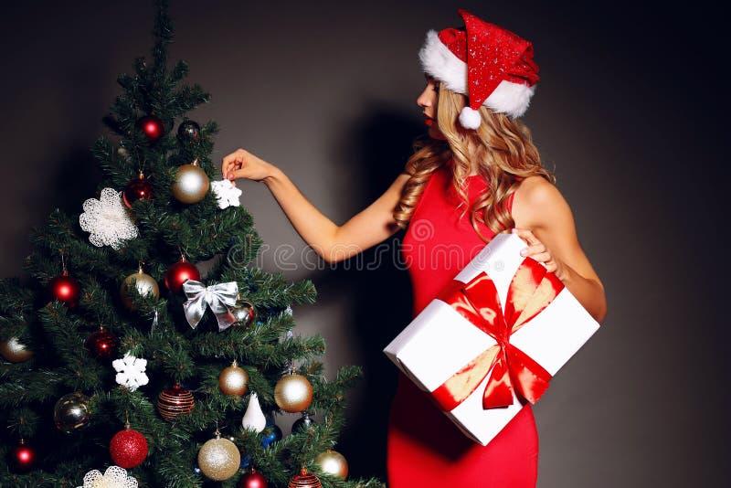 有卷曲金发的美丽的性感的妇女在圣诞老人帽子和红色礼服 库存图片