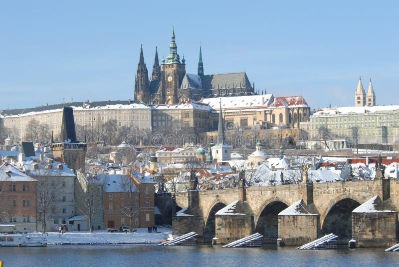 有历史的布拉格冬天 免版税图库摄影