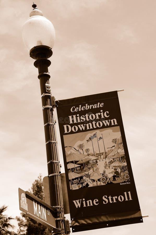 有历史街市的横幅 免版税库存照片