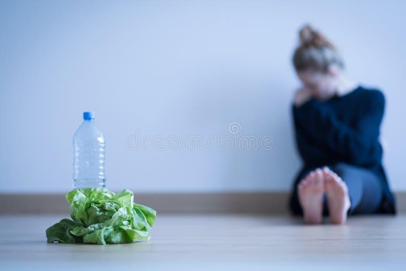 有厌食的女孩 库存照片