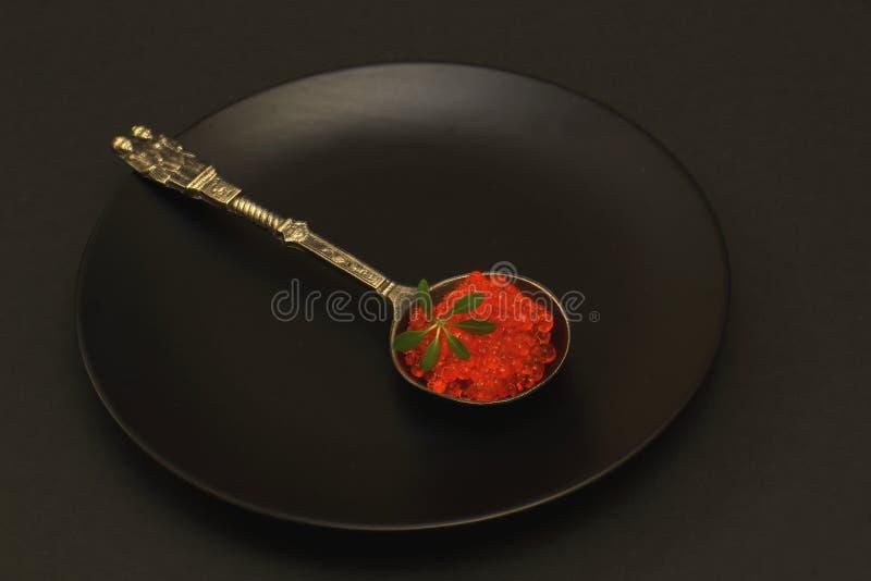 有原始的把柄的罕见的古色古香的匙子用可口红鲑鱼鱼子酱和莴苣水芹在黑圆的陶瓷板材 投反对票 库存照片