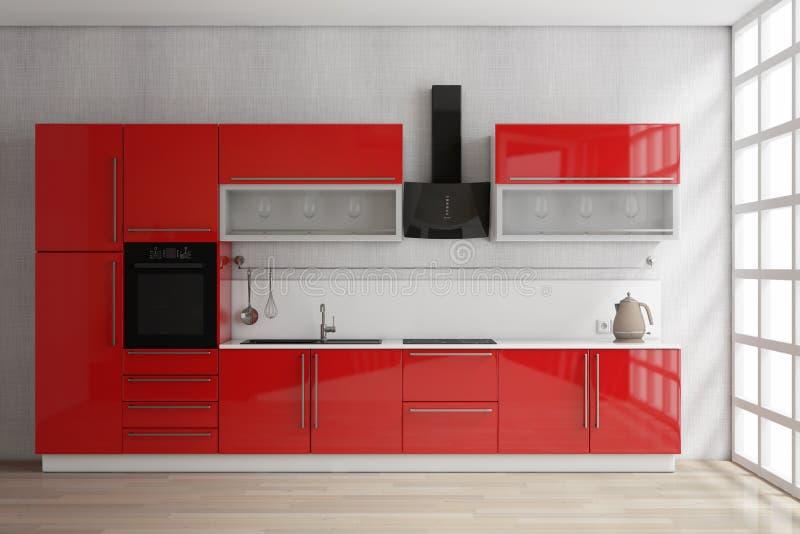有厨具的现代红色厨房家具在窗口附近 3d关于 向量例证