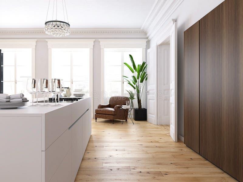 有厨房和客厅的现代顶楼 3d翻译 库存例证