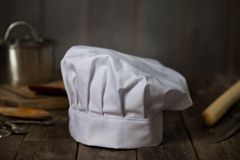 有厨房的厨师帽子 免版税图库摄影