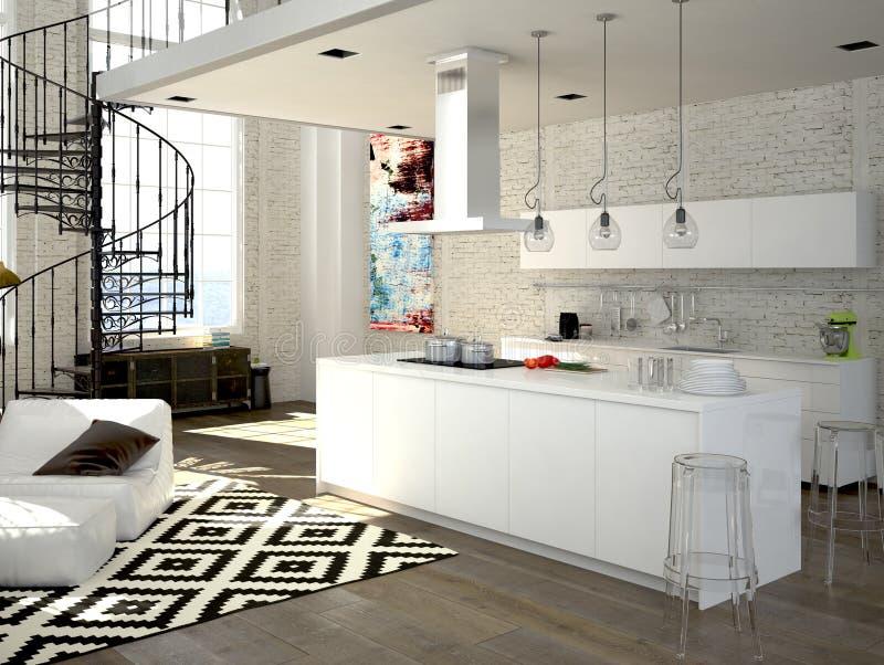 有厨房的现代顶楼 3d翻译 库存例证