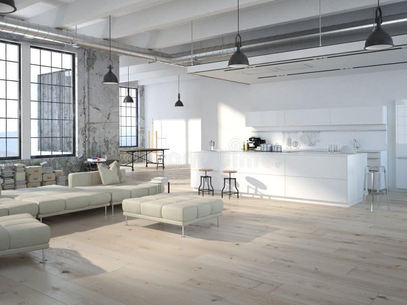 有厨房的现代顶楼 3d翻译 向量例证