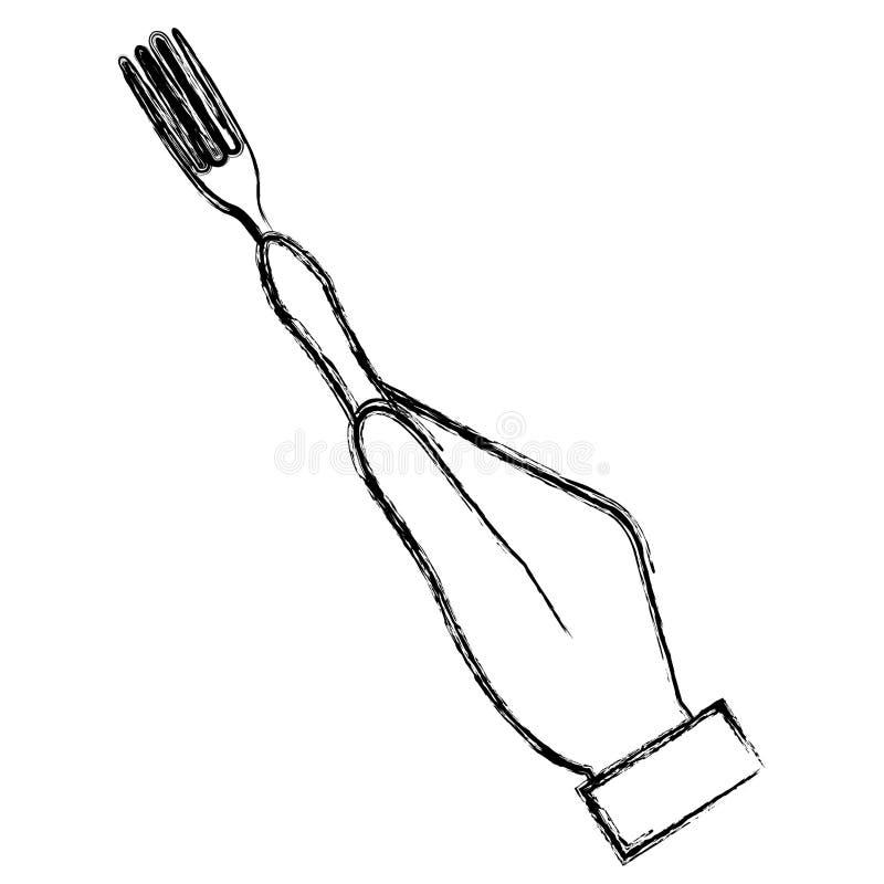 有叉子利器的手 库存例证