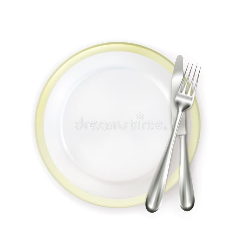 有叉子和刀子的牌照 库存例证